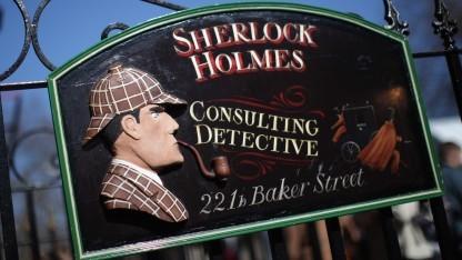 Schild vor dem fiktiven Sitz von Holmes' Büro in der Londoner Baker-Street