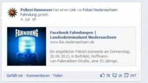 Fahnungsaufruf der Polizei Hannover auf Facebook