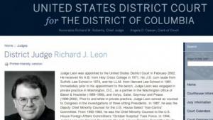 Bundesrichter Richard Leon hält eine Klage gegen die Speicherung von Telefonverbindungsdaten für aussichtsreich.
