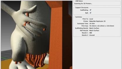 Photoshop CC: Stützstrukturen werden automatisch ergänzt.