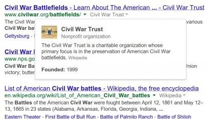 Informationen über Websites in den Suchergebnissen