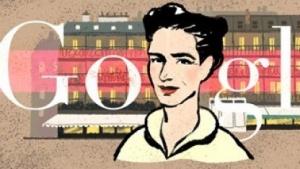 Simone de Beauvoir im Doodle des Tages bei Google.fr