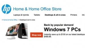 HP bewirbt Windows 7 als Standardausstattung.
