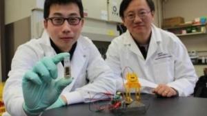 Y. H. Percival Zhang (r.) und sein Kollege Zhiguang Zhu mit der Bio-Brennstoffzelle
