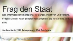 Startseite von Fragdenstaat.de