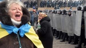 Demonstration gegen Präsident Janukowitsch auf dem Maidan in Kiew am 21. Januar 2014