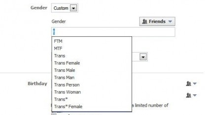 Facebook ermöglicht nun eine große Auswahl an geschlechtlichen Identitäten.