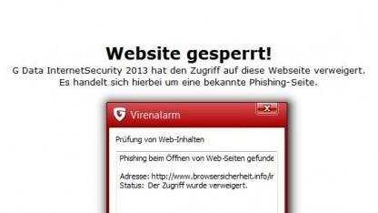 Bekannte Phishing-Seite: Virenscanner blockieren derzeit browsersicherheit.info.