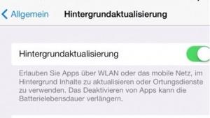 Hintergrundaktualisierung in iOS 7 für Keylogger interessant