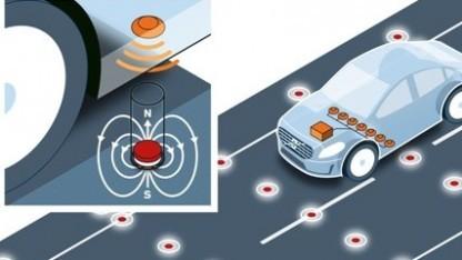 Fahrbahnmagnete zur Positionsbestimmung von Fahrzeugen