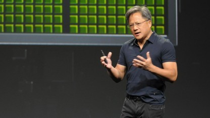Nvidias Chef Jen-Hsun Huang auf der Hausmesse GPU Technology Conference.