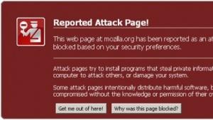 Firefox meldet eine gehackte Webseite mit Malware.