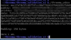 Die Threema-Validation funktioniert zwar, sagt aber wenig aus.