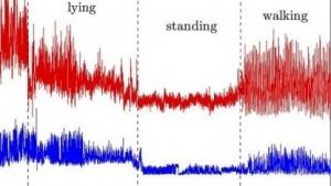 Veränderungen der Radiowellen, wenn Menschen in einem Raum liegen, stehen oder gehen