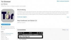 Inzwischen nicht mehr verfügbar: Der gefälschte Tor-Browser für iOS