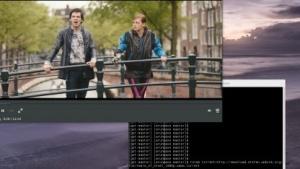 Mediaplayer Totem spielt eine Torrent-Datei ab.