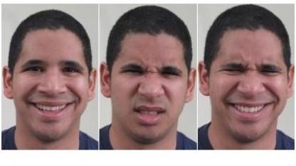 Gesichtsausdrücke für fröhlich, angeekelt und angeekelt-fröhlich (von links): 5.000 Fotos von 230 Probanden