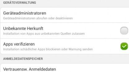 Apps verifizieren in den Android-Einstellungen