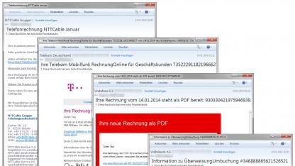 Beispiele der verschickten Cridex-Trojaner-Mails