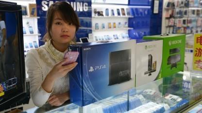 Elektronikladen in Schanghai im Januar 2014
