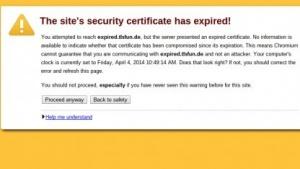 Chromium warnt vor einem abgelaufenen Zertifikat, aber der Nutzer erfährt nicht, dass es selbst signiert und somit sowieso ungültig ist.
