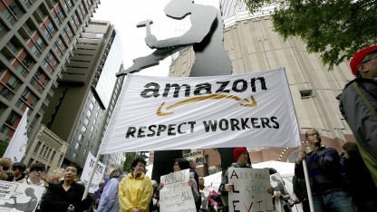 Proteste bei Amazon-Aktionärsversammlung im Jahr 2012