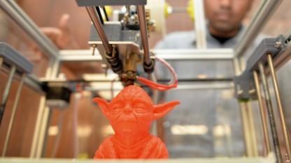 Ein mit einem 3D-Drucker gefertigtes Modell von Yoda