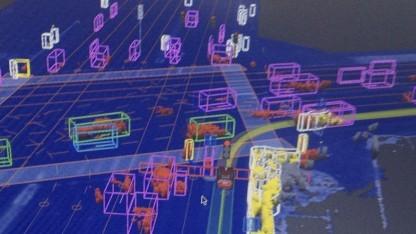 """Was Googles fahrerloses Auto """"sieht"""", wenn es durch Las Vegas fährt. (Bild von 2012)"""