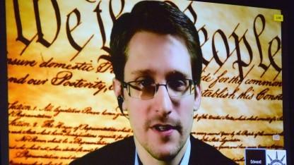 Edward Snowden während einer Live-Schaltung
