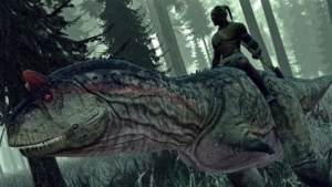 Ein Carnotaurus samt Reiter