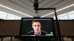 Edward Snowden spricht im April 2014 per Videokonferenz in Straßburg.