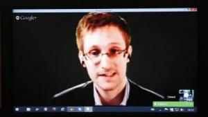 Edward Snowden während einer Live-Schaltung im Europarat
