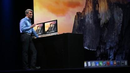 Craig Federighi stellt OSX 10.10 Yosemite vor.