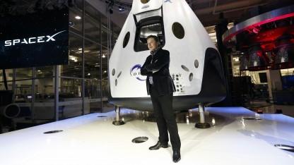Elon Musk (bei der Vorstellung der Raumfähre Dragon V2a am 29. Mai 2014): ohne die Nasa nicht da, wo SpaceX heute ist