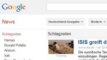 Objekt des Streites: der Nachrichtenüberblick von Google News