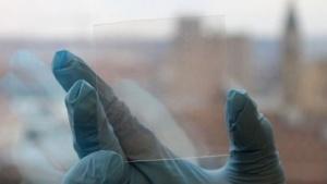 Die neue Schicht aus transparenten Elektroden wird auf ein flexibles Polymer aufgetragen.
