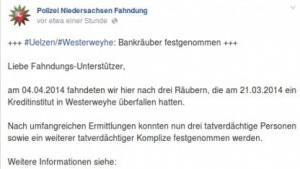 Erfolgreiche Fahndung der Polizei Niedersachsen auf Facebook