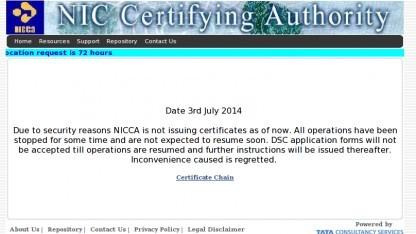 Die Zertifizierungsstelle des indischen National Informatics Centre hat ihren Dienst eingestellt.