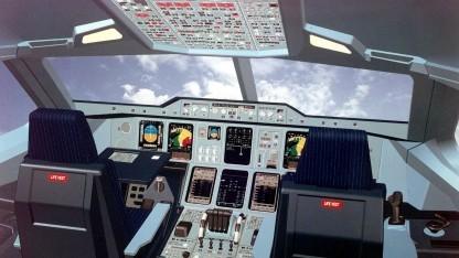 Cockpit eines Airbus Industrie A3XX im Dezember 1999
