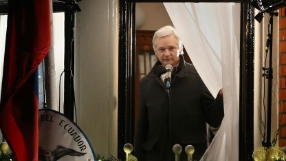Julian Assange in der Ecuadorianischen Botschaft in London.