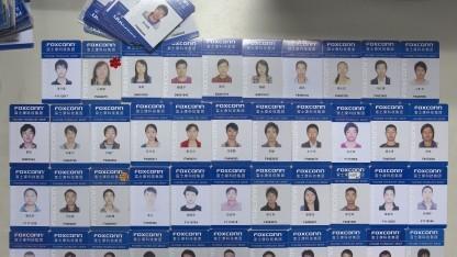 Foxconn-Arbeitsausweise in Shenzhen aus dem Jahr 2012