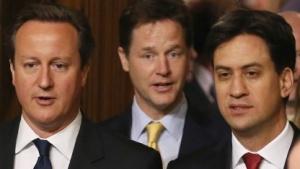 Wollen die Vorratsdatenspeicherung behalten: Premier David Cameron, Vize-Premier Nick Clegg und Labour-Chef Ed Miliband (v.l.n.r.)