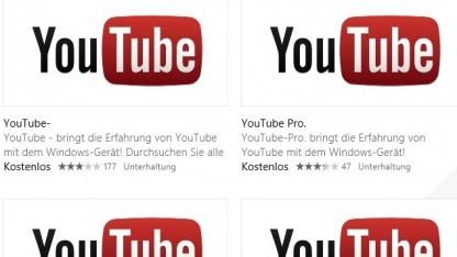 Viele Youtube-Apps im Windows Store mit dem Originallogo