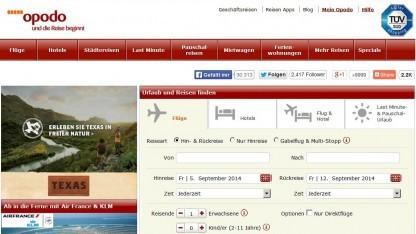 Die Startseite von Opodo.de