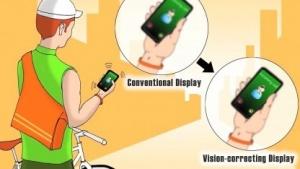Sehfehler-korrigierendes Display: Bild im richtigen Augenabstand simuliert