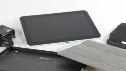 Das HP Elitepad 1000 G2 mit dem vielen Zubehör