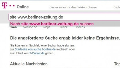 Die Suche von T-Online zeigt die Artikel vieler deutscher Medien nicht mehr an.
