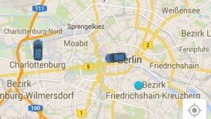 Die beiden einzigen Uber-Autos am 4.9.2014 in Berlin