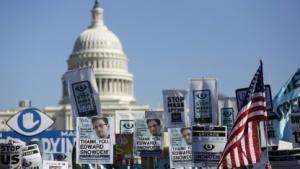 Eine Demonstration gegen Massenüberwachung vor dem Capitol in Washington