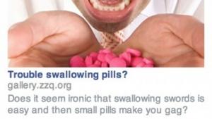 Auf den Schwertschlucker, der Probleme beim Tablettennehmen hat, zugeschnittene Facebook-Anzeige